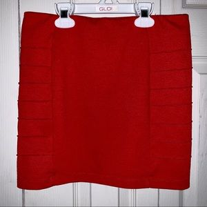 Forever 21 Pencil Stretchy Mini Skirt Bright Red